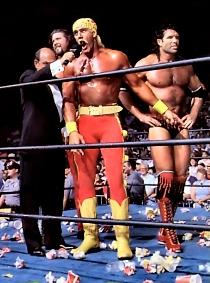 Hulk Hogan, Kevin Nash, and Scott Hall form the N.W.O. at Bash at the Beach